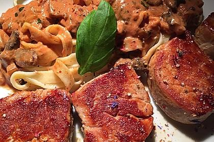 Schweinefilet mit Pilzen und Tagliatelle 2