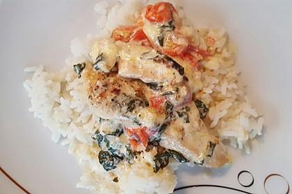 Mozzarella - Hähnchen in Basilikum - Sahnesauce 134