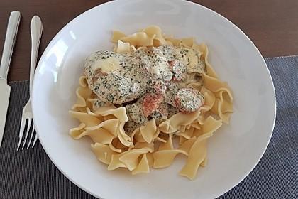 Mozzarella - Hähnchen in Basilikum - Sahnesauce 44