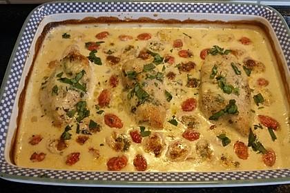 Mozzarella - Hähnchen in Basilikum - Sahnesauce 144