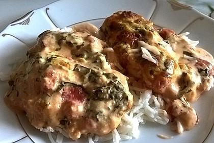 Mozzarella - Hähnchen in Basilikum - Sahnesauce 153