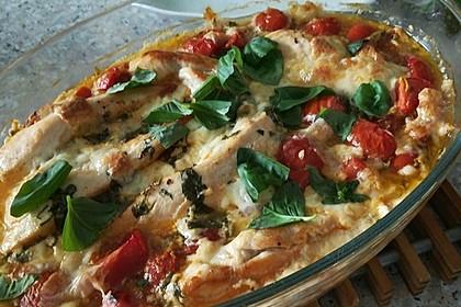 Mozzarella - Hähnchen in Basilikum - Sahnesauce 126