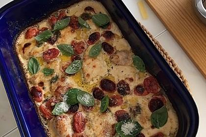 Mozzarella - Hähnchen in Basilikum - Sahnesauce 127