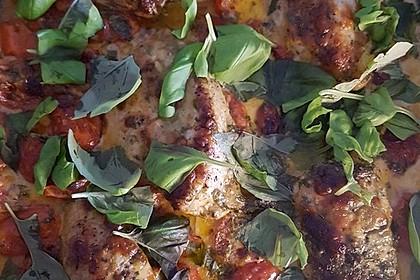 Mozzarella - Hähnchen in Basilikum - Sahnesauce 191