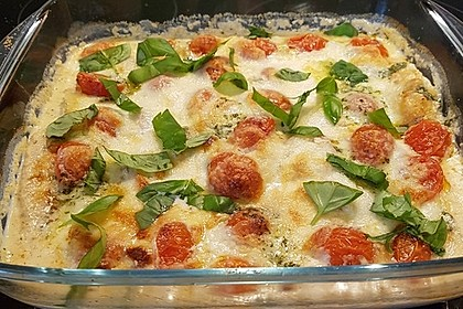 Mozzarella - Hähnchen in Basilikum - Sahnesauce 113