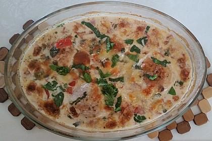 Mozzarella - Hähnchen in Basilikum - Sahnesauce 210