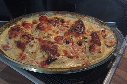 Mozzarella - Hähnchen in Basilikum - Sahnesauce 122