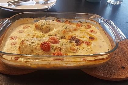 Mozzarella - Hähnchen in Basilikum - Sahnesauce 146