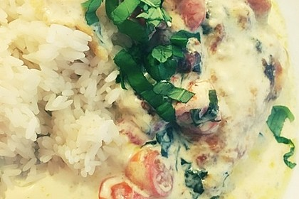 Mozzarella - Hähnchen in Basilikum - Sahnesauce 311
