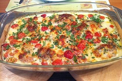 Mozzarella - Hähnchen in Basilikum - Sahnesauce 209