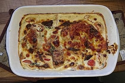 Mozzarella - Hähnchen in Basilikum - Sahnesauce 291