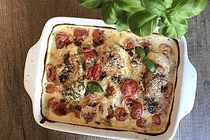 Mozzarella - Hähnchen in Basilikum - Sahnesauce 38