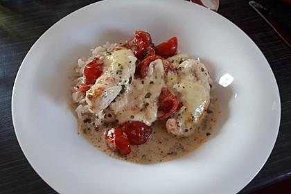 Mozzarella - Hähnchen in Basilikum - Sahnesauce 299
