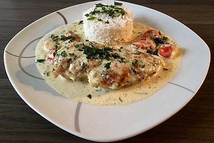 Mozzarella - Hähnchen in Basilikum - Sahnesauce 261