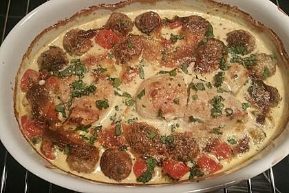 Mozzarella - Hähnchen in Basilikum - Sahnesauce 296
