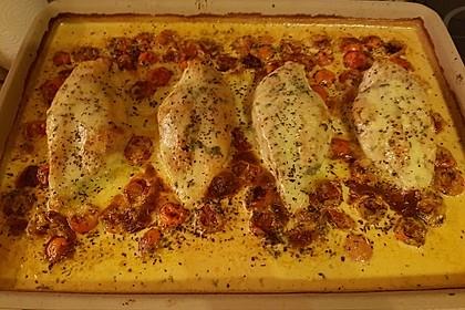 Mozzarella - Hähnchen in Basilikum - Sahnesauce 25