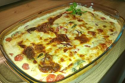 Mozzarella - Hähnchen in Basilikum - Sahnesauce 77