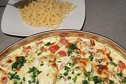 Mozzarella - Hähnchen in Basilikum - Sahnesauce 154