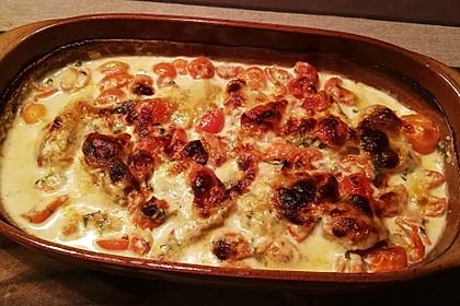 Mozzarella - Hähnchen in Basilikum - Sahnesauce 312