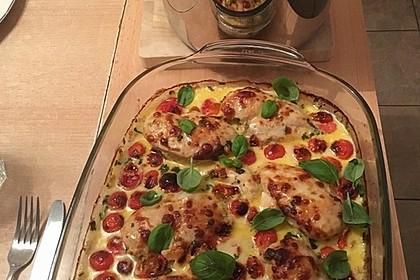 Mozzarella - Hähnchen in Basilikum - Sahnesauce 208