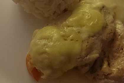 Mozzarella - Hähnchen in Basilikum - Sahnesauce 350