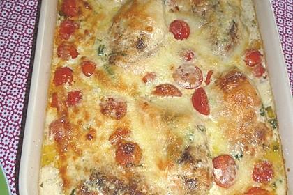 Mozzarella - Hähnchen in Basilikum - Sahnesauce 297