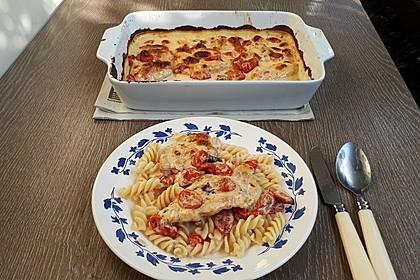 Mozzarella - Hähnchen in Basilikum - Sahnesauce 309