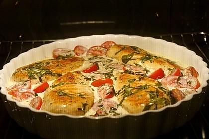Mozzarella - Hähnchen in Basilikum - Sahnesauce 303