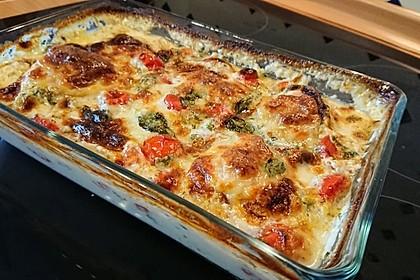 Mozzarella - Hähnchen in Basilikum - Sahnesauce 307