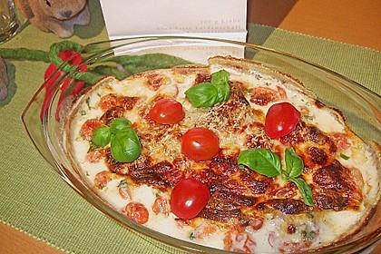 Mozzarella - Hähnchen in Basilikum - Sahnesauce 13