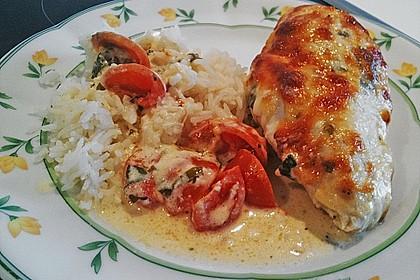 Mozzarella - Hähnchen in Basilikum - Sahnesauce 121