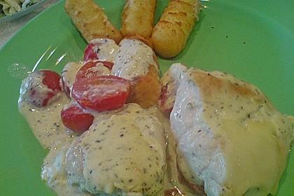 Mozzarella - Hähnchen in Basilikum - Sahnesauce 327