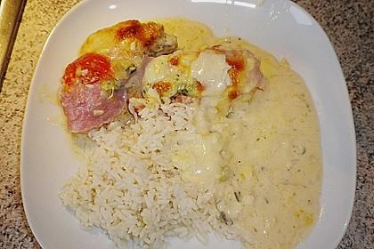 Mozzarella - Hähnchen in Basilikum - Sahnesauce 346