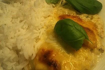 Mozzarella - Hähnchen in Basilikum - Sahnesauce 355