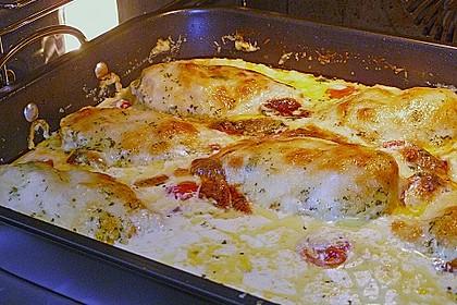 Mozzarella - Hähnchen in Basilikum - Sahnesauce 220