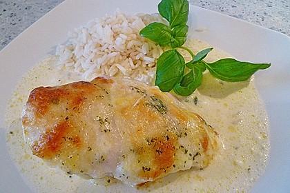 Mozzarella - Hähnchen in Basilikum - Sahnesauce 120