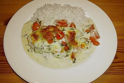 Mozzarella - Hähnchen in Basilikum - Sahnesauce 232