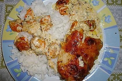 Mozzarella - Hähnchen in Basilikum - Sahnesauce 325