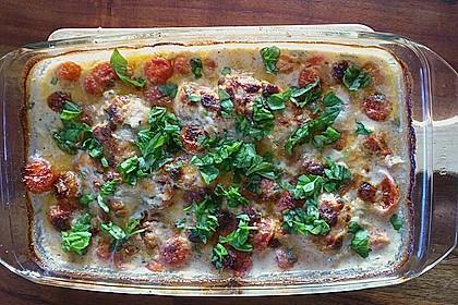 Mozzarella - Hähnchen in Basilikum - Sahnesauce 241