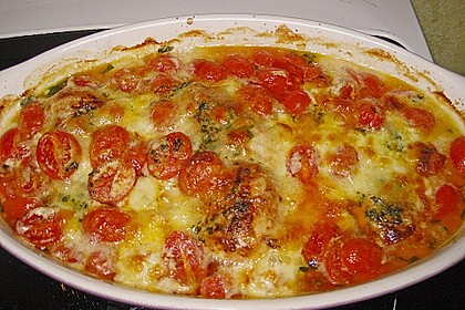 Mozzarella - Hähnchen in Basilikum - Sahnesauce 174