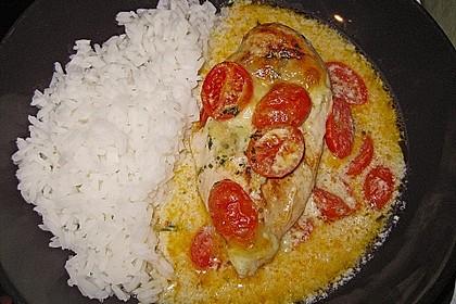 Mozzarella - Hähnchen in Basilikum - Sahnesauce 138