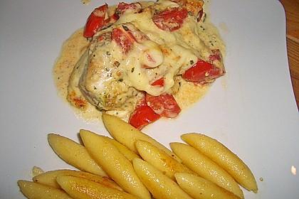 Mozzarella - Hähnchen in Basilikum - Sahnesauce 163