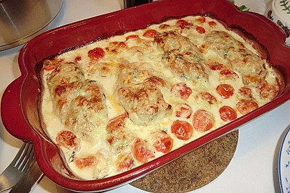 Mozzarella - Hähnchen in Basilikum - Sahnesauce 177
