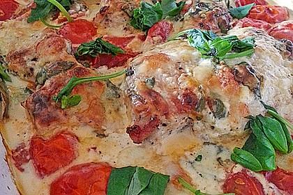 Mozzarella - Hähnchen in Basilikum - Sahnesauce 169