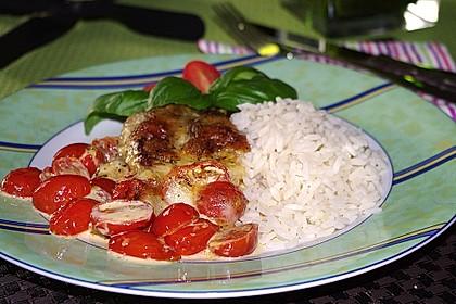 Mozzarella - Hähnchen in Basilikum - Sahnesauce 89
