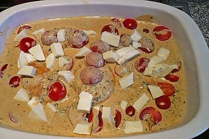 Mozzarella - Hähnchen in Basilikum - Sahnesauce 270