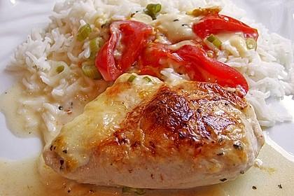 Mozzarella - Hähnchen in Basilikum - Sahnesauce 56