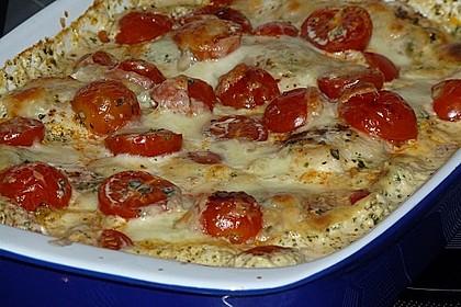 Mozzarella - Hähnchen in Basilikum - Sahnesauce 250