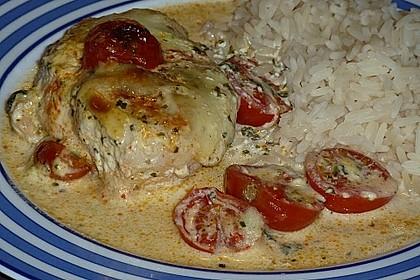 Mozzarella - Hähnchen in Basilikum - Sahnesauce 161
