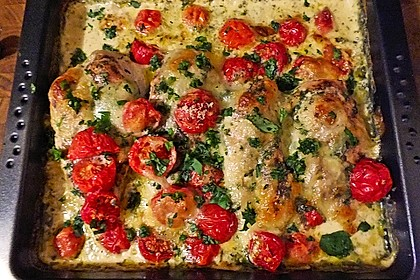 Mozzarella - Hähnchen in Basilikum - Sahnesauce 102
